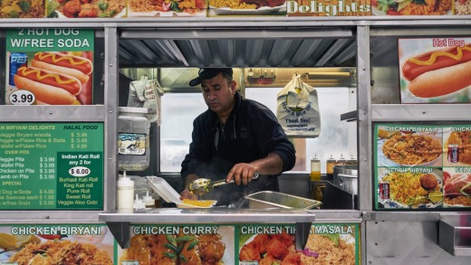 Kabir Ahmed at work at his Biryani Delights food truck.