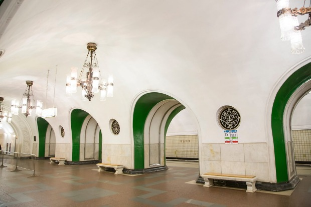 VDNKh metro station in Moscow, Russia, which opened in 1958.