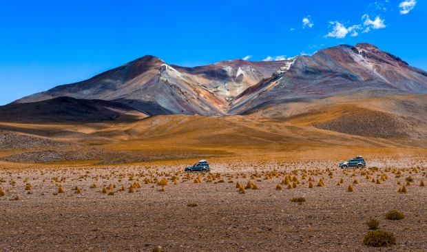 4-wheel driving across the Siloli Desert, Bolivia. Located at the southeast of Potosi city, part of the Atacama. Famous ...