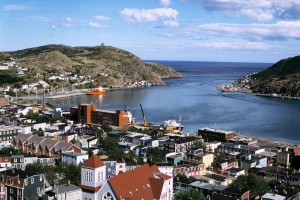 Downtown St John's and its harbour.