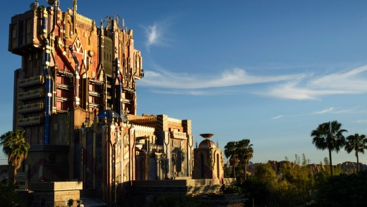 The glimmering exterior of The Collector's imposing Fortress looms over the skyline at Disney California Adventure Park.