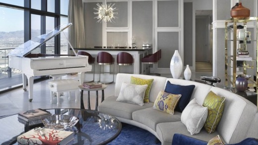 A living room in one of Boulevard Suites at the Cosmopolitan.