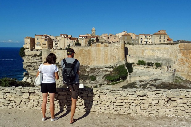 Bonifacio: Clinging like a limpet to cliffs on the southern tip of French island Corsica, with views across to nearby ...
