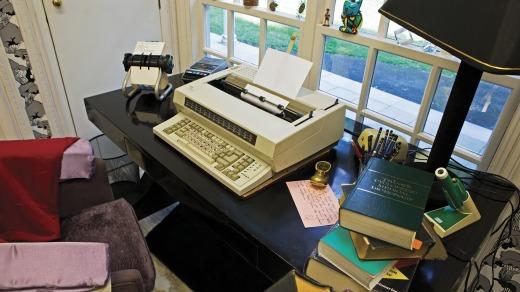 One of the six identical electric typewriters McCullough used for writing.
