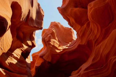 View from within the Lower Antelope Slot Canyon, located on Navajo land east of Page, Arizona USA. Known as Hazdistazí, ...