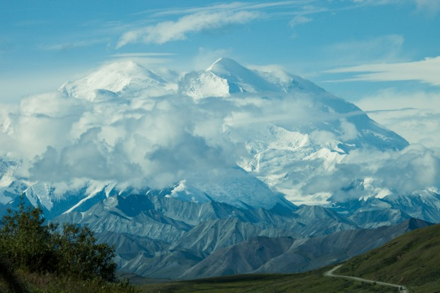 The Denali Mountain, Alaska,  appearing in all it's glory. The bus driver told us only 30% of visitors to the national ...