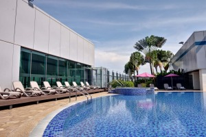 The Aerotel's rooftop pool area at Changi Airport in Singapore.