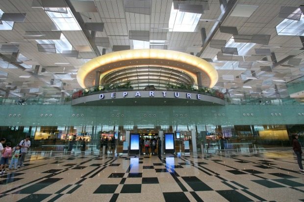 The departure immigration hall at Terminal 3, Changi Airport.