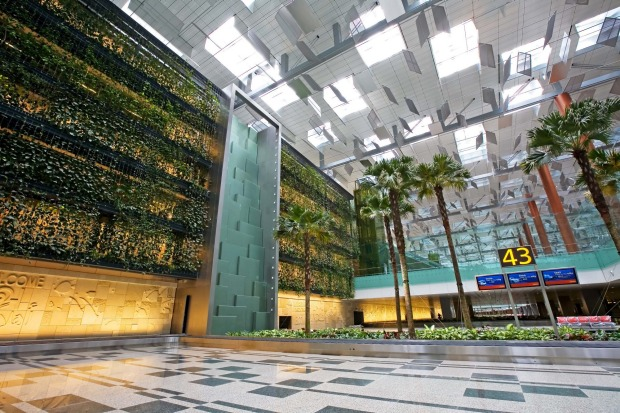 Upon entering Terminal 3's Departure Hall, one will be immediately drawn to a huge five-storey high vertical garden - ...