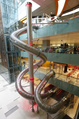 Take a ride on The Slide@T3, the world's tallest slide in an airport. Standing at a height of 12 metres high or four ...