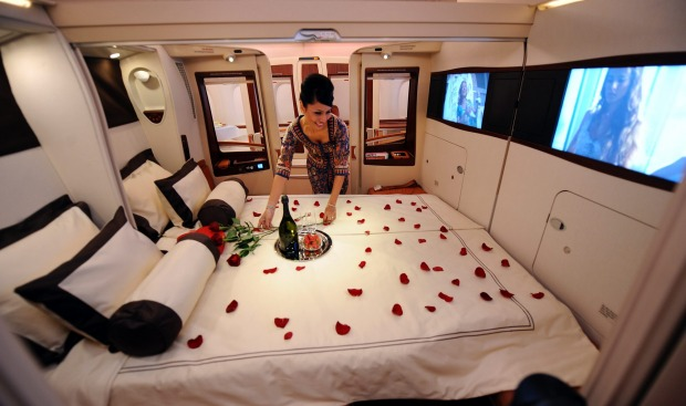 Singapore Airlines A380 first class suites can convert to double beds.