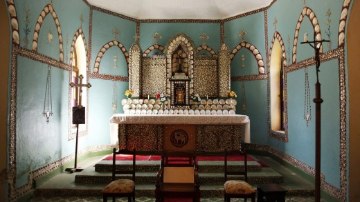 The altar decorated with mother-of-pearl shell in Sacred Heart Church, Beagle Bay.