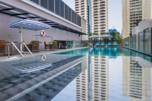 The swimming pool at Well Hotel Bangkok.