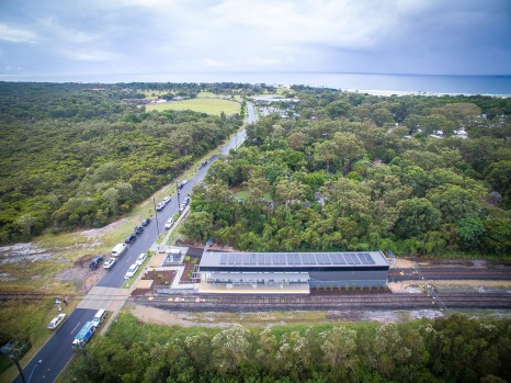 Heritage meets renewable at Byron Bay's new North Beach Train Station with solar array on the roof. Photo:?Byron Bay ...
