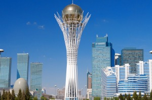 ASTANA, KAZAKHSTAN - MAY 10, 2014: Bayterek is a monument and observation tower in Astana. The height of buildings 105 ...