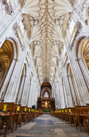 Gothic interior of Winchester Cathedral.