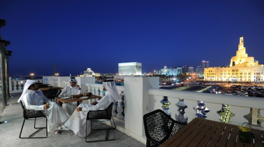 Taking the night air at Souq Waqif Boutique Hotels.
