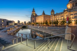 The Liver building next to the Port Authority and the Cunard Building on Pier Head, Liverpool.