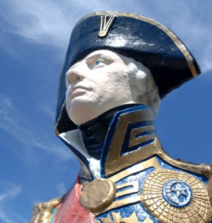 Ship figurehead of Lord Nelson at Portsmouth Historic Dockyard.