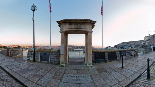 Looking out from Pilgrims Point, above the Mayflower Steps Barbican, Plymouth.
