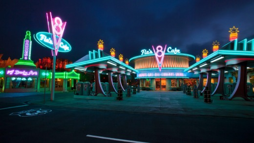Flo's V8 Cafe, a Route 66-inspired diner, in Cars Land at Disney California.