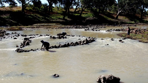 The Brewarrina fish traps on the Barwon River and also known in the local Aboriginal language as Ngunnhuare are ...