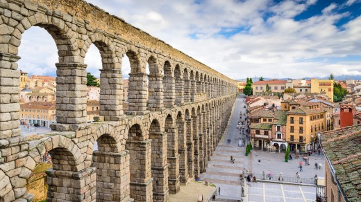 Segovia, Spain, at the ancient Roman aqueduct.
