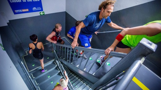 Runners climb the stairs on the 20th floor of the Empire State Building in the annual run-up.