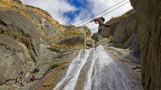 Wildwire is a via ferrata route, scaling the cliffs beside Twin Falls with the aid of metal rungs, suspension bridges ...