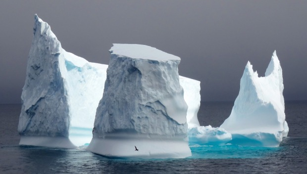 """We sailed through the Willis Islands, west of South Georgia, with a breath-taking iceberg (an icy ''Stonehenge"""") ..."""