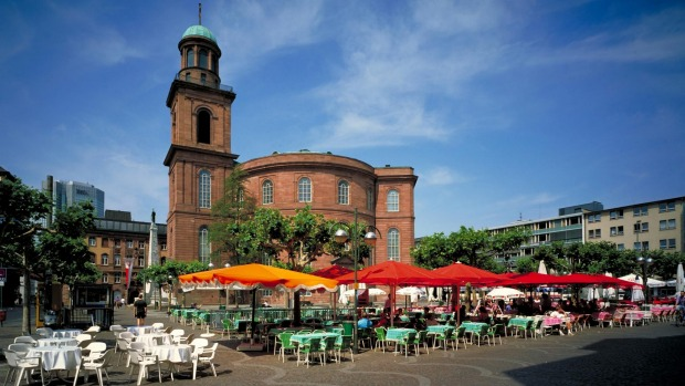 Frankfurt has a pockets of charming red sandstone buildings.