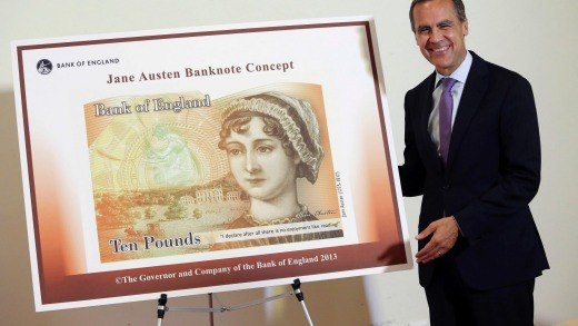 Airbrushed Austen? Governor of the Bank of England, Mark Carney reveals the soon-to-be launched new 10 pound note in 2013