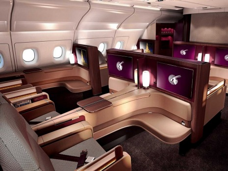 First class on board the  Qatar A380.