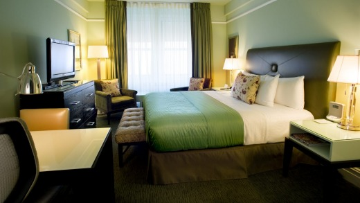 The spacious bedroom in the suite.