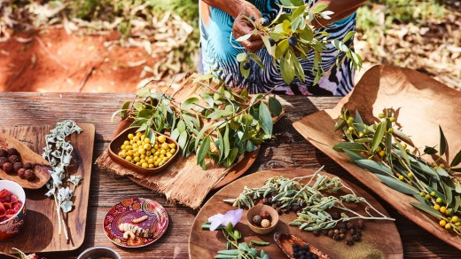 Table laden with top-notch bush tucker.