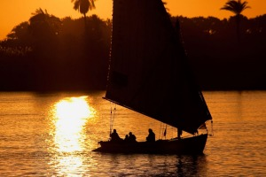 A felucca, a traditional Egyptian sail boat, on the Nile.