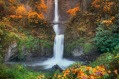 This is a very high resolution panorama photograph of Multnomah Falls in autumn colors.