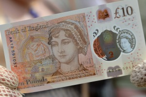 The new £10 note, featuring Jane Austen.