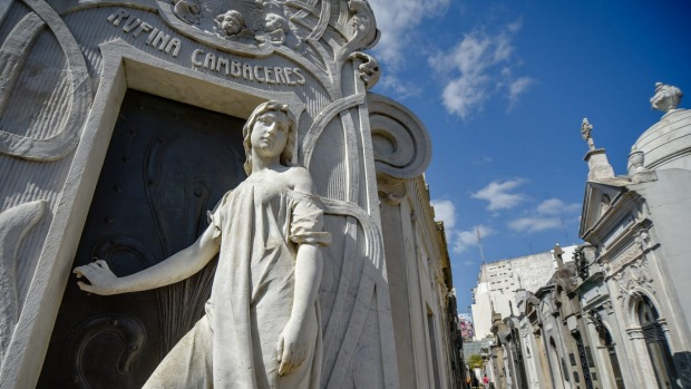 The tomb of Rufina Cambaceres at La Recoleta cemetery in Buenos Aires.