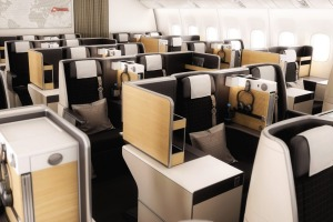 There are 62 business class and eight first class seats on board the Swiss Boeing 777.
