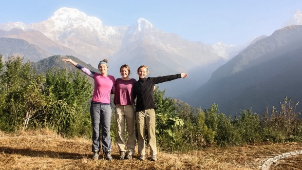 Mia Tarantini (left), Jemma Scott and Caitlin Foley visited Nepal.