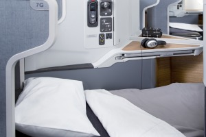 The business class beds extend up to 78 inches (198 centimetres) in length.