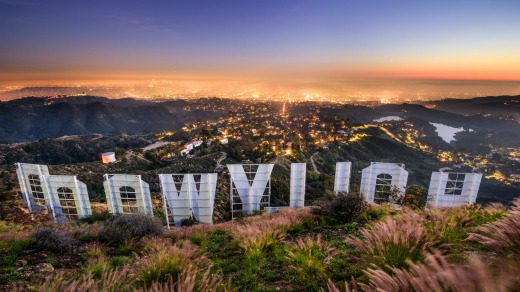 The iconic Hollywood sign overlooking Los Angeles.