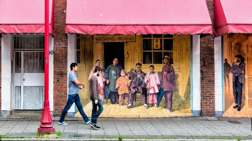 A historical mural on East Pender Street, Vancouver, depicting a Chinese laundry in 1884.