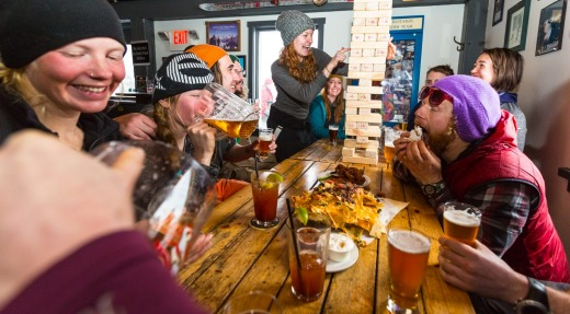 There's a very casual apres ski atmosphere throughout Red Mountain Resort.