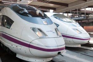High-speed trains at Madrid's Atocha station.