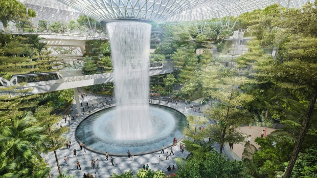 Artist's impress of Changi Airport's new development, The Jewel: A key feature of Jewel Changi Airport will be a large ...