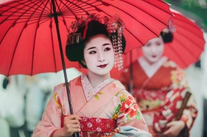Maiko girls, Geisha apprentices, Kyoto, Japan.