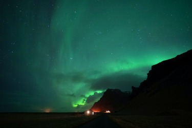 'The Aurora Borealis putting on a show in the south of Iceland.'