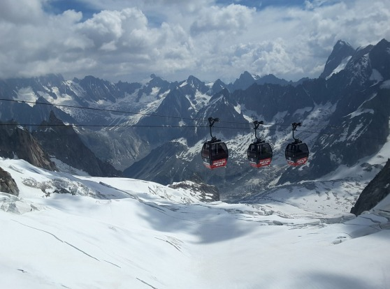 An amazing day going up Monte Bianco from Courmaeur, Italy, and down Mont Blanc to Chamonix, France, and all the way ...